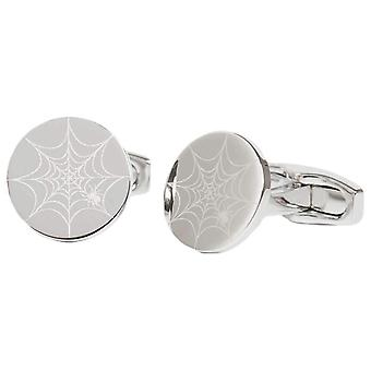 Simon Carter Laser Engraved Spiders Web Cufflinks - Silver