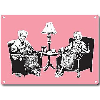 Banksy Grandmas Knitting Metal Sign 380Mm X 280Mm