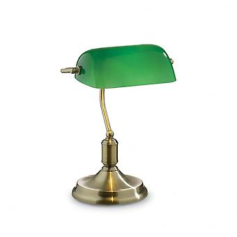 Ideal Lux Lawyer Bronze Banker Desk Lamp With Green Glass Shade