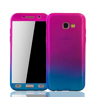 Samsung Galaxy A3 2017 telefon fall skyddande fall rustning skyddsglas rosa / blå