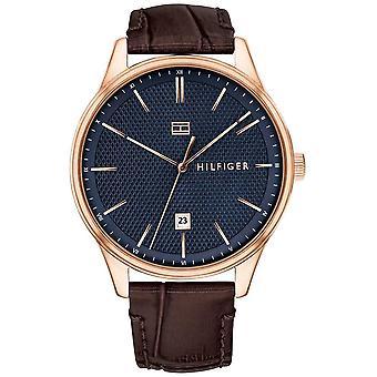 Tommy Hilfiger męskie Damon brązowy skórzany pasek do zegarka niebieski cyferblat 1791493