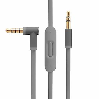[REYTID] Grey Audio Cable for Beats by Dr Dre Studio / Studio 2.0 Wireless Headphones with Inline Remote, Volume Control and Microphone - Accessory for iPhone & Android Lead Wire