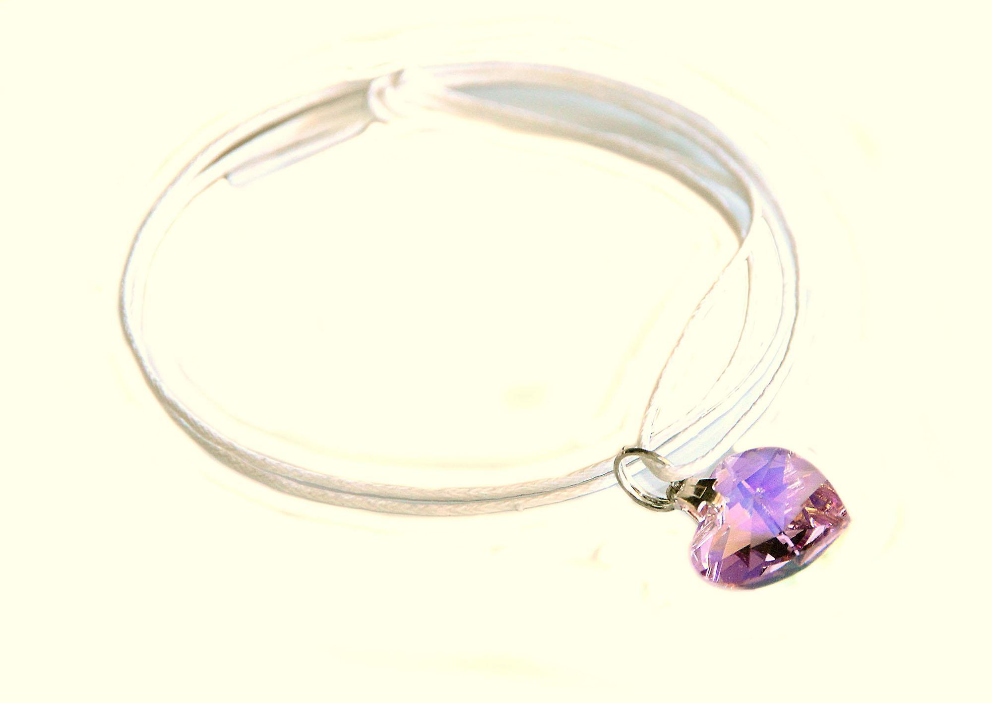 Waooh - sieraden - Swarovski / paars hart met koord hanger wax