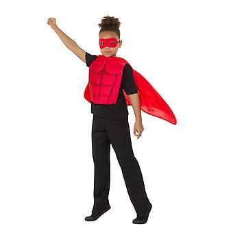 Kids superhelte Kit rød, Eyemask EVA & Cape, drenge Fancy kjole alder 4-7