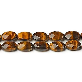 Strand 20+ Yellow/Brown Tiger Eye 12 x 16mm Faceted Oval Beads CB42559