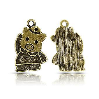 Paquete 15 x Steampunk antiguo bronce tibetano 27 mm cerdo encanto/colgante ZX15880