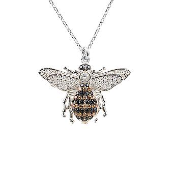 Latelita Pendant Necklace Honey Bumble Bee Queen CZ 925 Silver