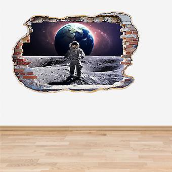 Полноцветный астронавта на стикер стены 3D эффект разбитые стены Луны