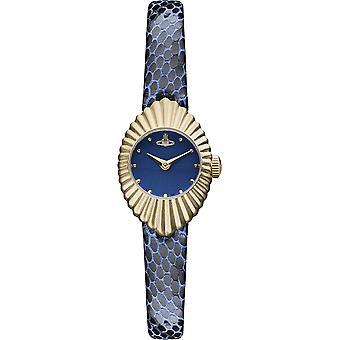 Vivienne Westwood PVD Gold Plated Case Blue Leather Strap Ladies Watch VV096NVNV 21mm