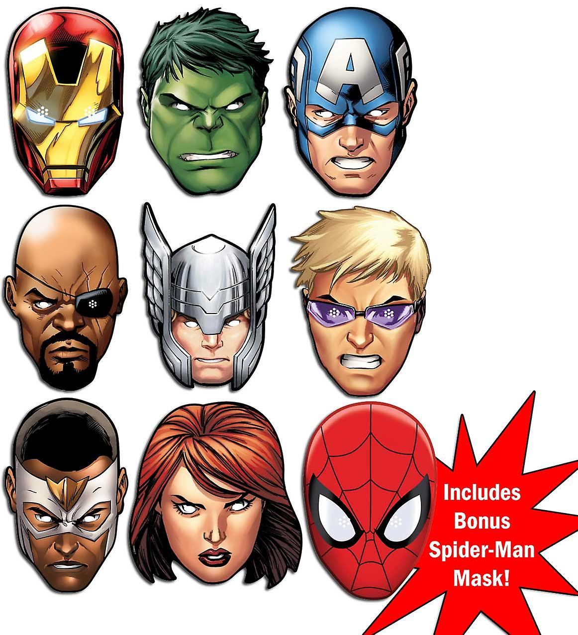 Marvel's The Avengers Ultimate Super Hero Set of 9 Variety Face Mask Pack