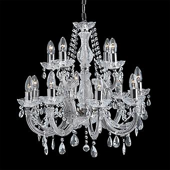 Searchlight 399-12 Marie Therese Chrome 12 Light Chandelier