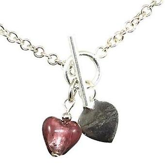 Toc Sterling Silver Bracelet With Mauve Murano Heart Charm & T-Bar