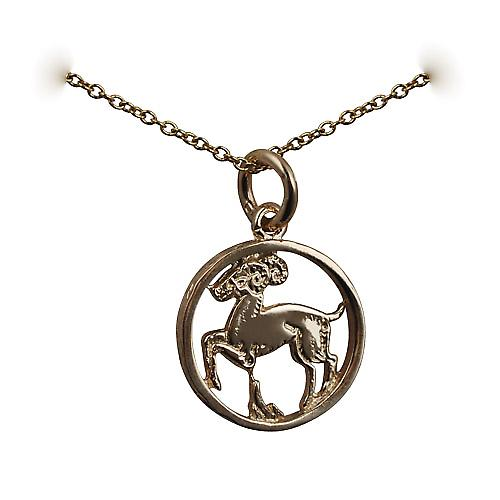 9ct Gold 11mm pierced Aries Zodiac Pendant with Cable link Chain