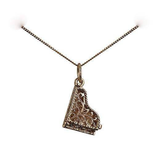 9ct Gold 15x9mm moveable piano Pendant with a curb chain