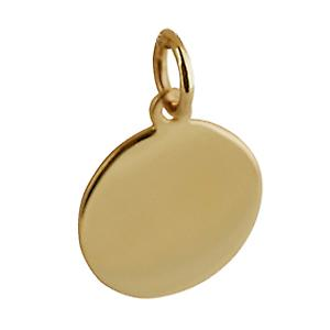 9ct Gold 13mm plain round disc