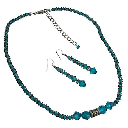 Ethnic Blue Zircon Crystals Swarovski Crystals Necklace Set