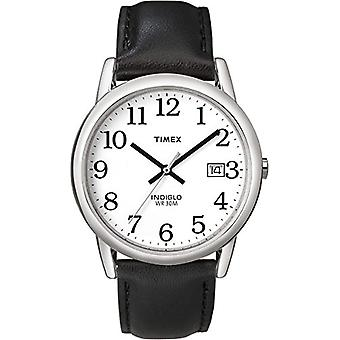 Timex T2H281 wrist watch, men's analogue dial, black leather strap, white/silver/black