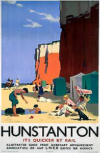 Hunstanton Cliffs (old rail ad.) fridge magnet (se)