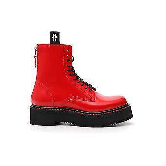 R13 Red Patent Leather Ankle Boots