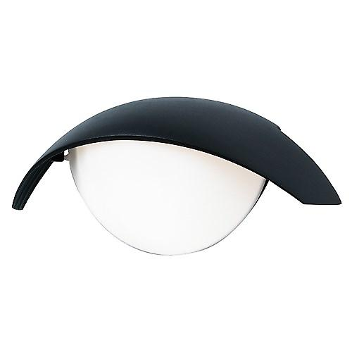Endon EL-40057 Black Vandal Resistant Outdoor Wall Light With Opal Shade