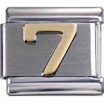 Toc Stainless Steel Number 7 Italian Charm For Italian Bracelet