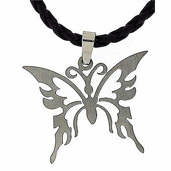 TOC Unisex Butterfly Stainless Steel Pendant On Plaited 18