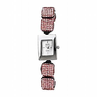 Eton Pink Crystal Cube Ajustable Bracelet Strap Ladies Fashion Watch 3020L