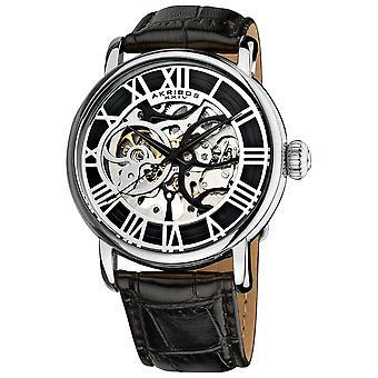 Akribos XXV AK540SS Men's Mechanical Skeleton Round Leather Silver-Tone Strap Watch