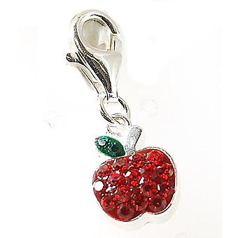 TOC Sterling Silver Red Crystal Set Apple Trigger Charm