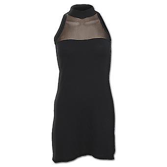 Spiral Direct Gothic GOTHIC ELEGANCE - Halterneck Fine Mesh Dress Black|Gothic
