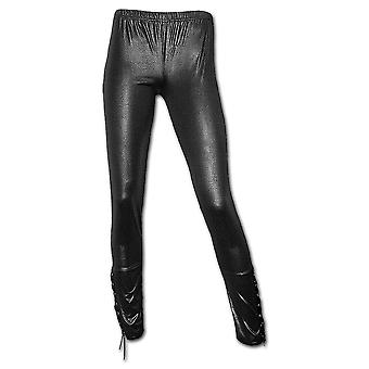 Spiral-direkte Gothic GOTHIC-ROCK - Lace Leather Look Leggins Black| Gothic| Metall