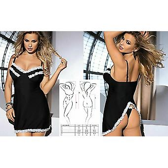 Avanua Sexy Black And White Vadis Chemise With Ruffle Trim And Thong Set