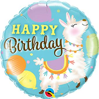 Qualatex 18 Inch Birthday Llama Round Foil Balloon