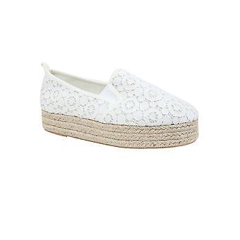 White Crochet Flatform Espadrille In Wide Fit