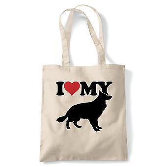 Ik hou van mijn Duitse herder Tote | Hond cadeau bont baby minnaar eigenaar mans beste vriend | Herbruikbare winkelen katoen Canvas lang behandeld natuurlijke shopper eco-vriendelijke mode