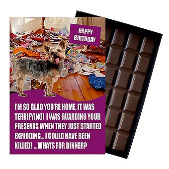 Yorkshire Terrier Funny Birthday Gifts For Dog Lover Boxed Chocolate Greeting Card Present