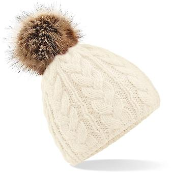 Beechfield - Fur Pop Pom Cable Beanie Hat