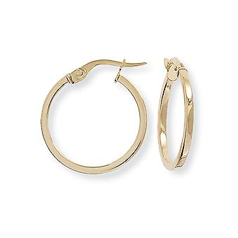 Jewelco London Ladies 9ct Yellow Gold 1.5mm Square Tube Round Hoop Earrings - 20mm