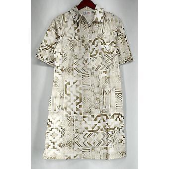 Denim & Co. Dress Elbow Sleeve Tribal Printed Denim White A275259