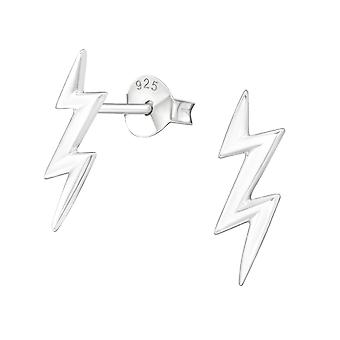 Lightning Bolt - 925 Sterling Silver Plain Ear Studs - W11258X