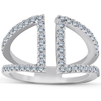 1 / 2ct timantti sormus avoimen tavalla oikealla Split bändi valkokulta