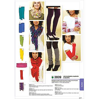 Leg Warmers, Sleeves & Scarves  No Size Pattern K3809