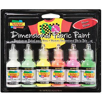 Tulip Dimensional Fabric Paint 1 Ounce 6 Pkg Neon Dfps 26514