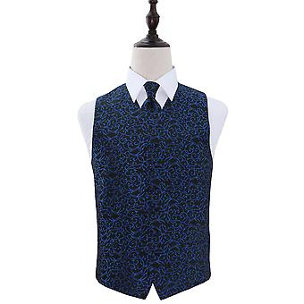 Black & Blue Swirl Patterned Wedding Waistcoat & Tie Set
