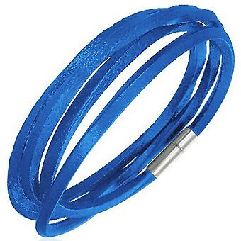 Urban Male Blue Leather Cord Style Wrap Bracelet