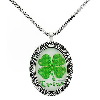 Vintage Green Irish Clover Glass Cameo Oval Pendant Necklace Chain
