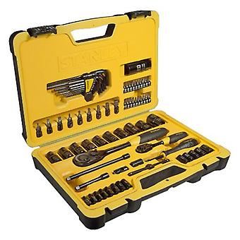 Stanley Jgo. 75 pieces socket wrenches 1/4 and 1/2  polished black finish