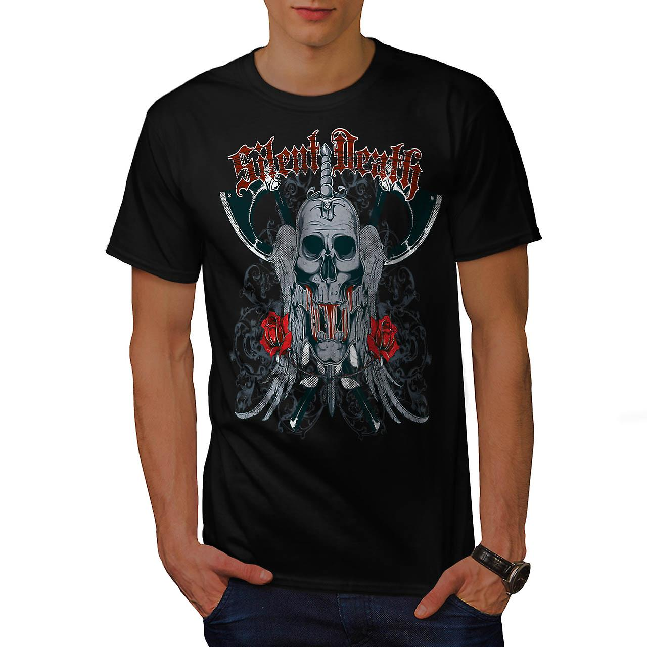 Silent Death Rose Skull Skull Rage Men Black T-shirt | Wellcoda