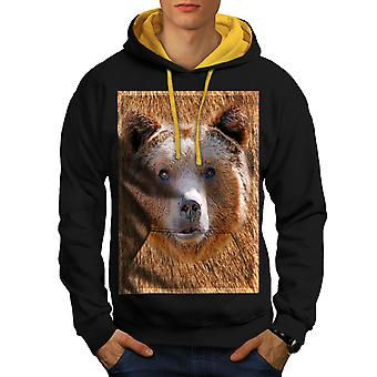 Grizzly Bear Face Wild Nature Men Black (Gold Hood) Contrast Hoodie | Wellcoda