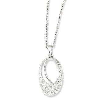 Sterling Silver and CZ Polished Fancy Oval Necklace - 18 Inch
